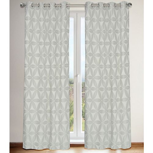 Daisy de 2 rideaux à illets en fausse soie avec doublure motif brodés fleur faux, 56x96 po, gris argent