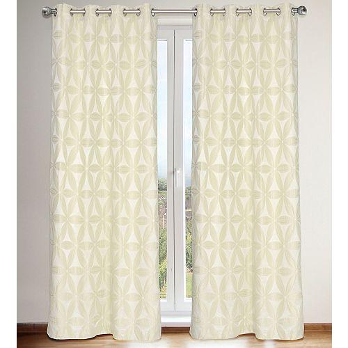 Daisy de 2 rideaux à illets en fausse soie avec doublure motif brodés fleur faux, 56x96 po, ivoire crème