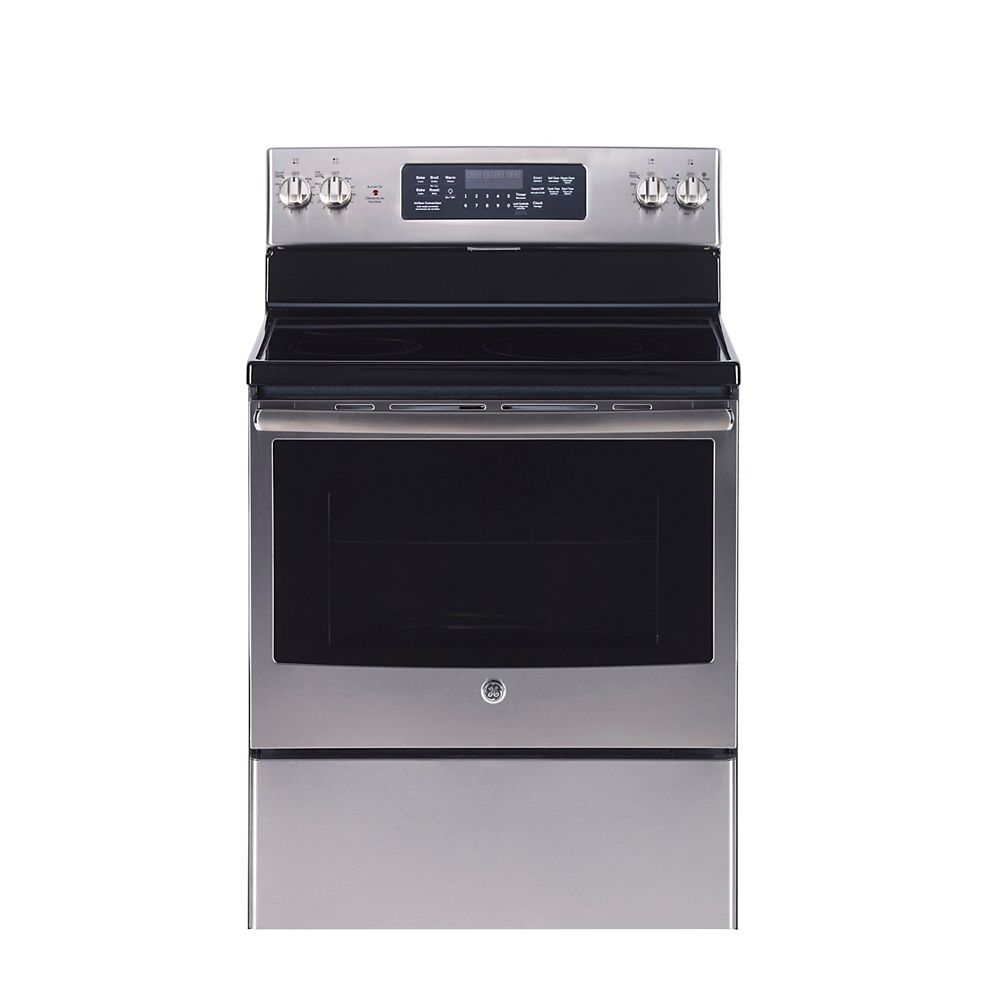 GE 30-inch 5.0 cu. ft. Single Oven Electric Range with Self-Cleaning Convection Oven in Stainless Steel