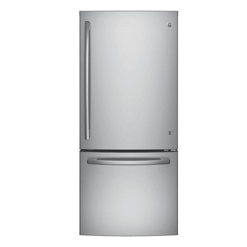 GE 30-inch W   20.6 cu. ft. Bottom Freezer Refrigerator in Stainless Steel - ENERGY STAR®