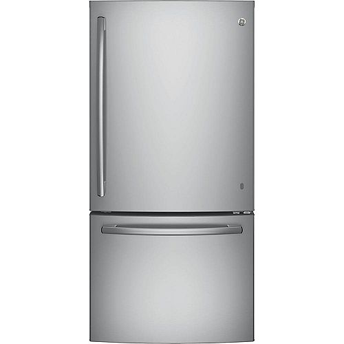 GE 33-inch W 24.9 cu. ft. Bottom Freezer Refrigerator in Stainless Steel - ENERGY STAR®