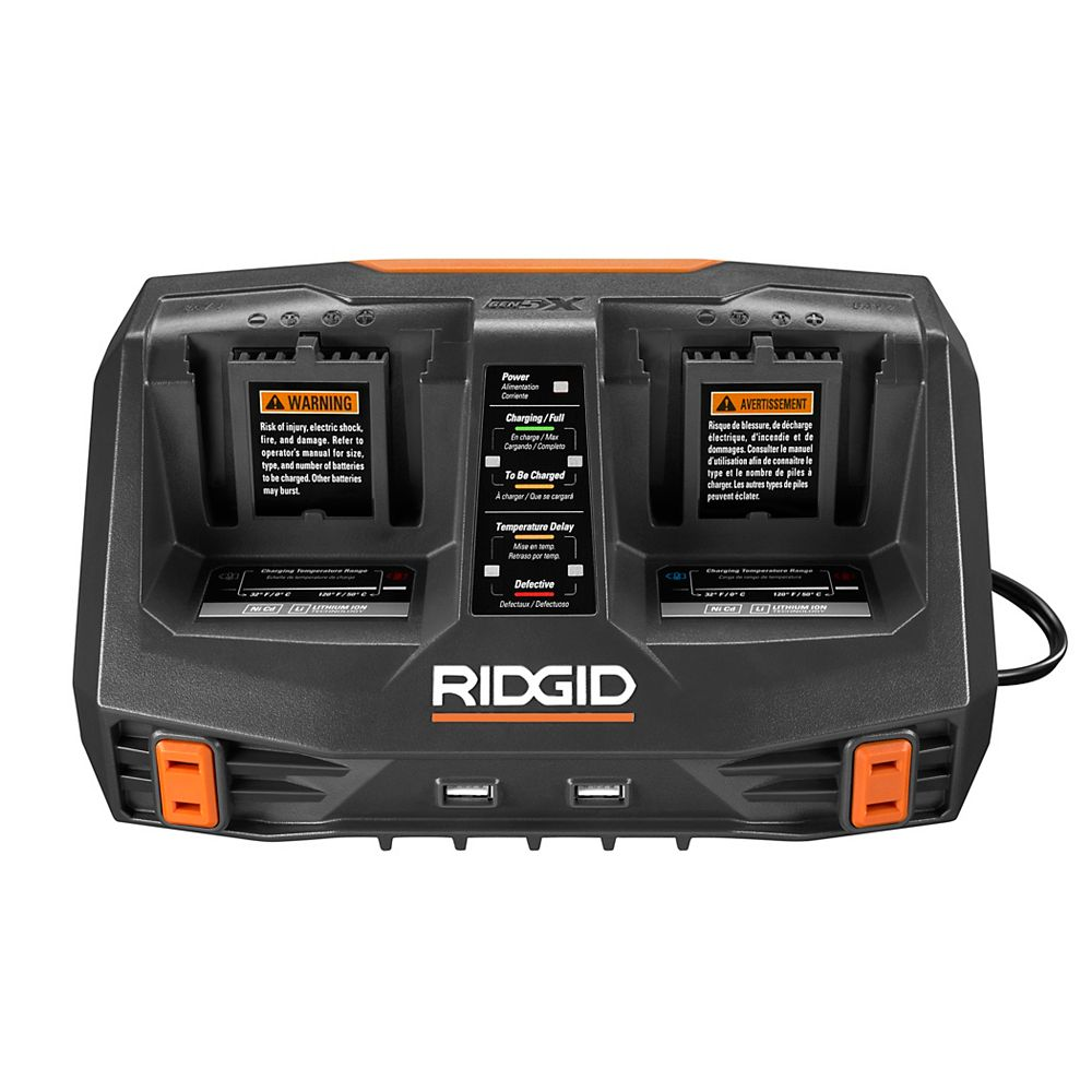 RIDGID GEN5X Dual Port Sequential Battery Charger with Dual USB Ports
