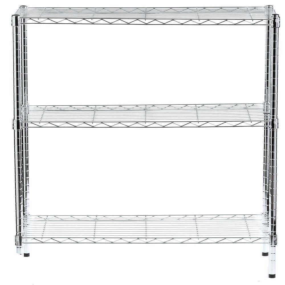 Honey-Can-Do 36-inch H x 36-inch W x 14-inch D 3-Shelf Shelving Unit in Chrome