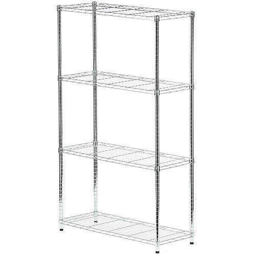 Honey-Can-Do 4-Shelf 60-inch H x 36-inch W x 14-inch D Steel Shelving Unit in Chrome