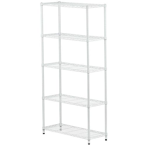 Honey-Can-Do 5-Tier 72-inch H x 36-inch W x 14-inch D Metal Adjustable Urban Shelving Unit in White