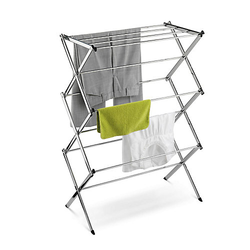 Accordion Drying Rack with 24 ft. of Drying Area in Chrome