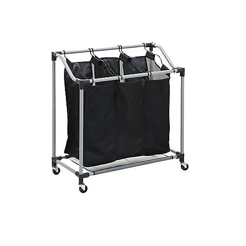 Triple Laundry Sorter with Mesh Bags, Steel/Black