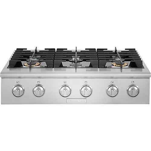 36-inch Gas Slide-In Cooktop with 6 Burners in Stainless Steel