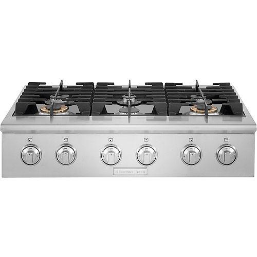 Electrolux ICON Table de cuisson à gaz de 36 po avec 6 brûleurs en acier inoxydable