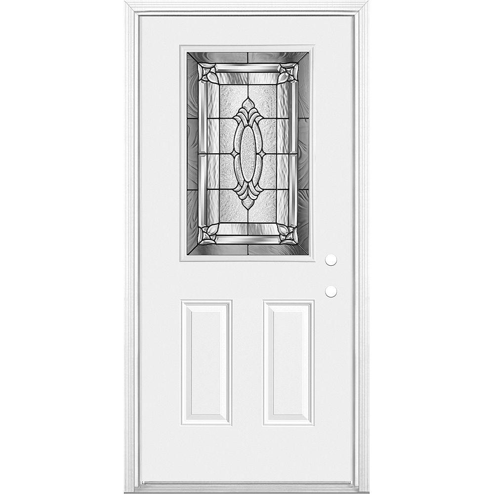 Masonite Masonite 32 X 80 X 4 9/16 Providence Antique Black 1/2 Lite Entry Door Left Hand