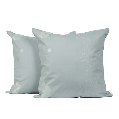 Allure Embroidered Cotton 18-inch Square Decorative Cushion Set (2-Pack)