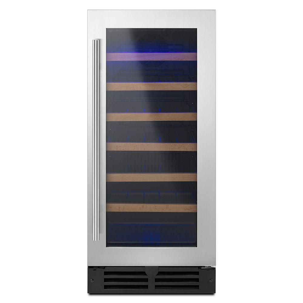 Whirlpool Réfrigérateur à vin de 15 pouces sous le comptoir pour 34 bouteilles en acier inoxydable - Porte réversible
