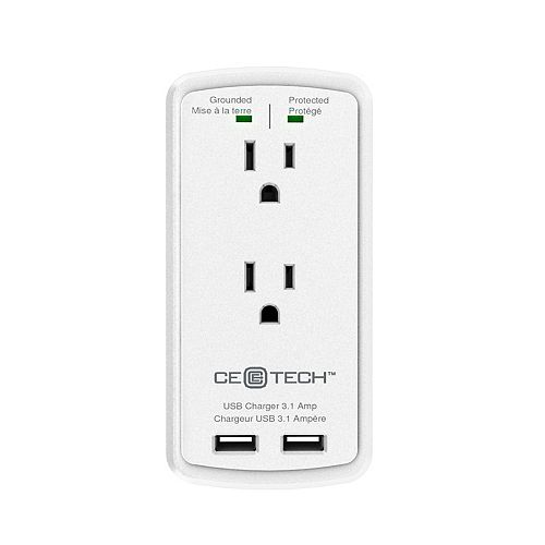 Commercial Electric 2 Outlet Surge Protect Wall Tap Usb White