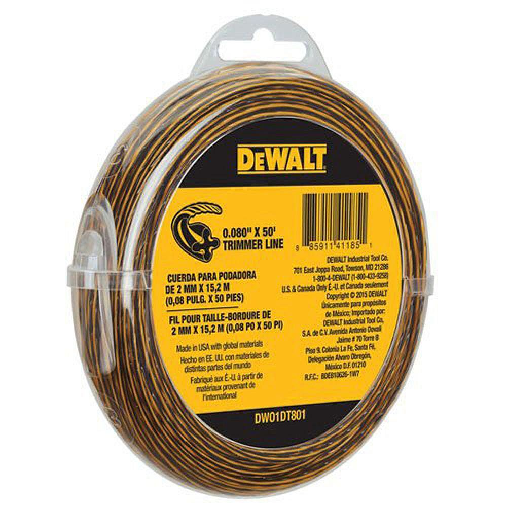 DEWALT 0.080-inch x 50 ft. Replacement Line for Cordless Battery Operated Bump Feed String Grass Trimmer/Lawn Edger
