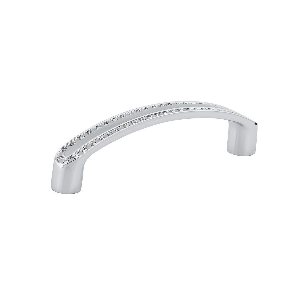 Richelieu Merritt Collection 3 3/4 in (96 mm) Center-to-Center Crystal, Chrome Contemporary Cabinet Pull