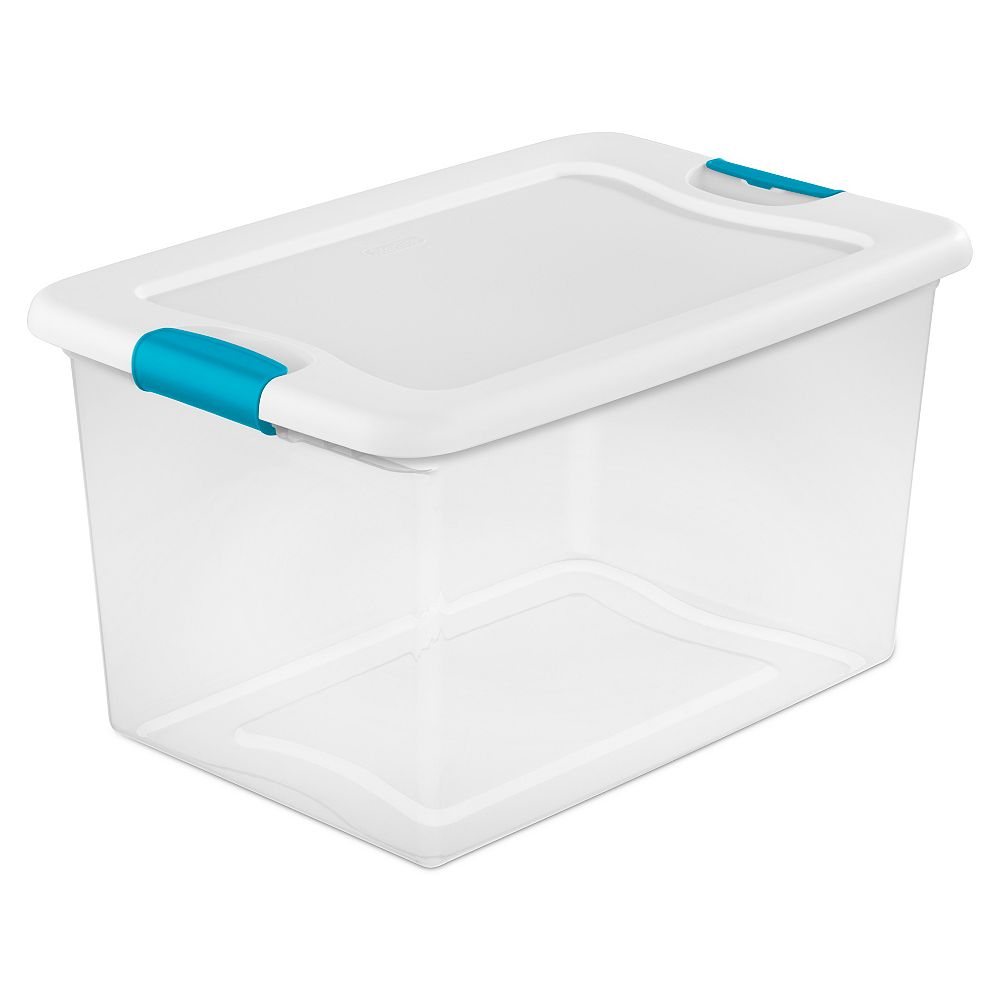 Sterilite Clear Storage Tote with Latching Lid in White, 60 L