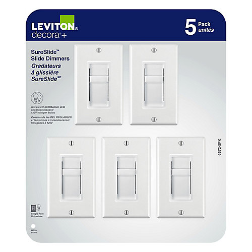 Decora SureSlide universal slide dimmer, slide to off, (5-Pack)