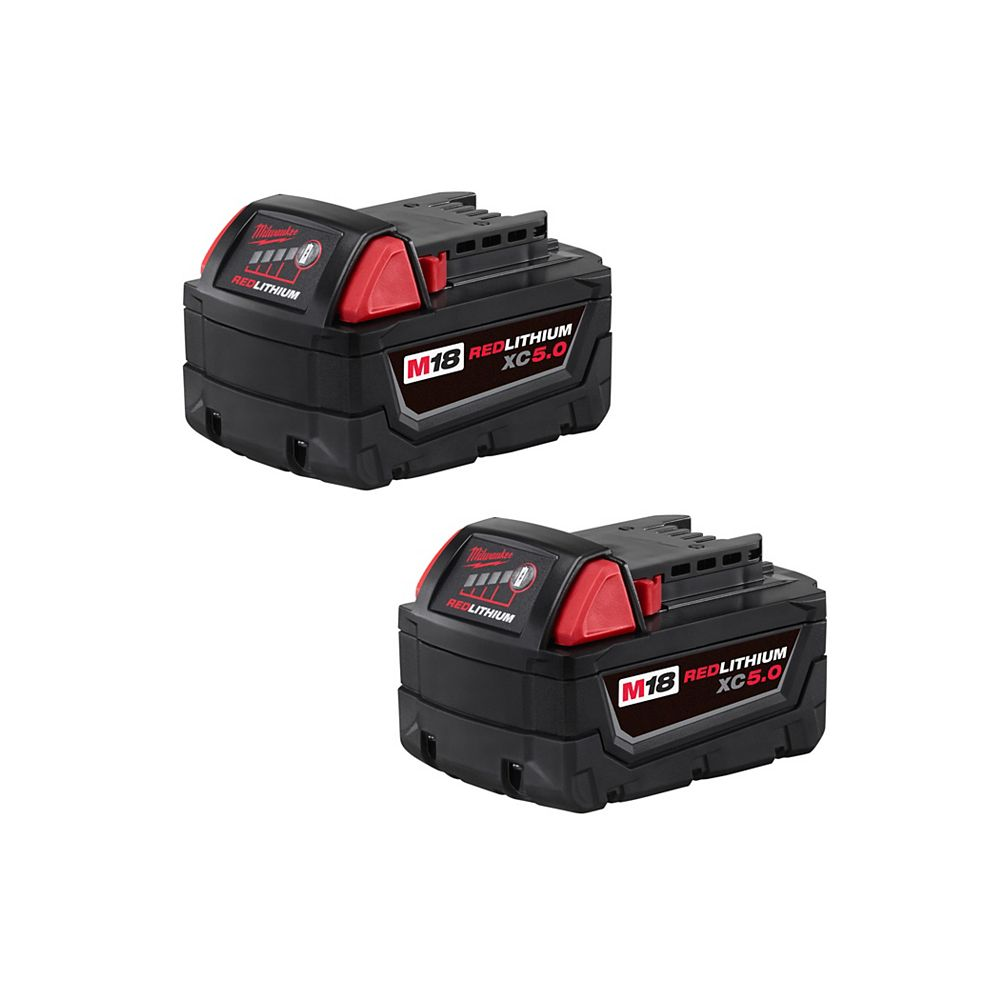 Milwaukee Tool M18 18V Lithium-Ion Extended Capacity (XC) 5.0 Ah REDLITHIUM Battery (2 Pack)
