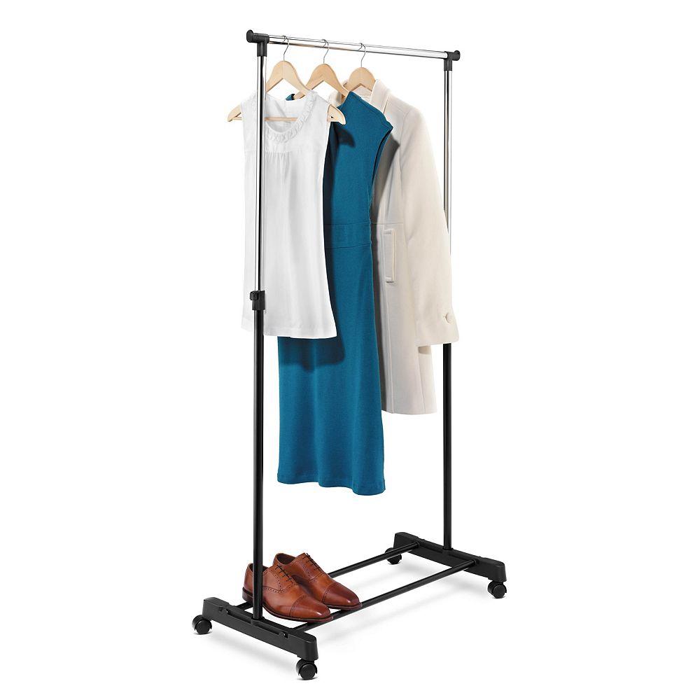 Honey-Can-Do Adjustable Steel Rolling Garment Rack in Chrome/Black