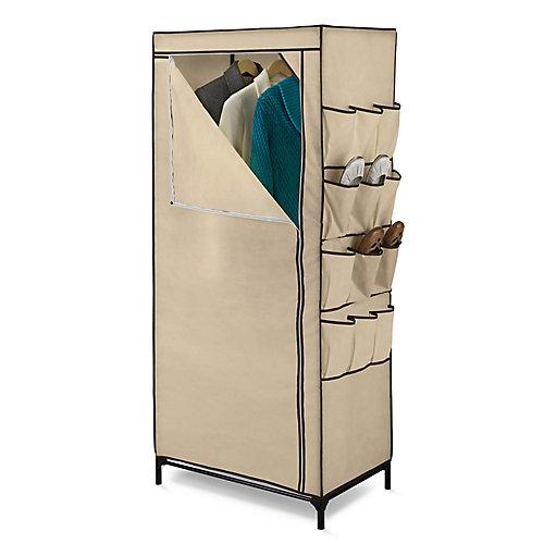 62-inch H x 27-inch W x 18-inch D Portable Closet with Shoe Organizer in Khaki