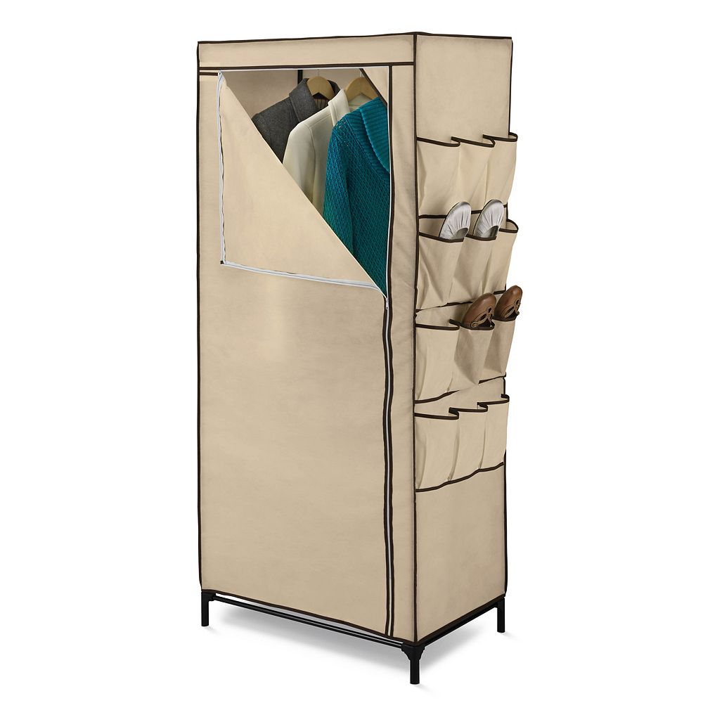 Honey-Can-Do 62-inch H x 27-inch W x 18-inch D Portable Closet with Shoe Organizer in Khaki