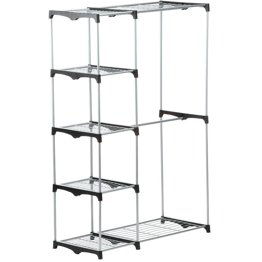 Honey-Can-Do 45.25-inch x 68-inch Double Rod Freestanding Closet