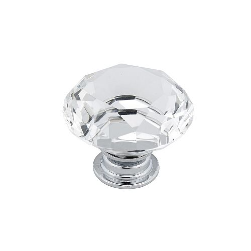 Bolzano Collection 1 9/16-inch (40 mm) Chrome, Clear Contemporary Cabinet Knob