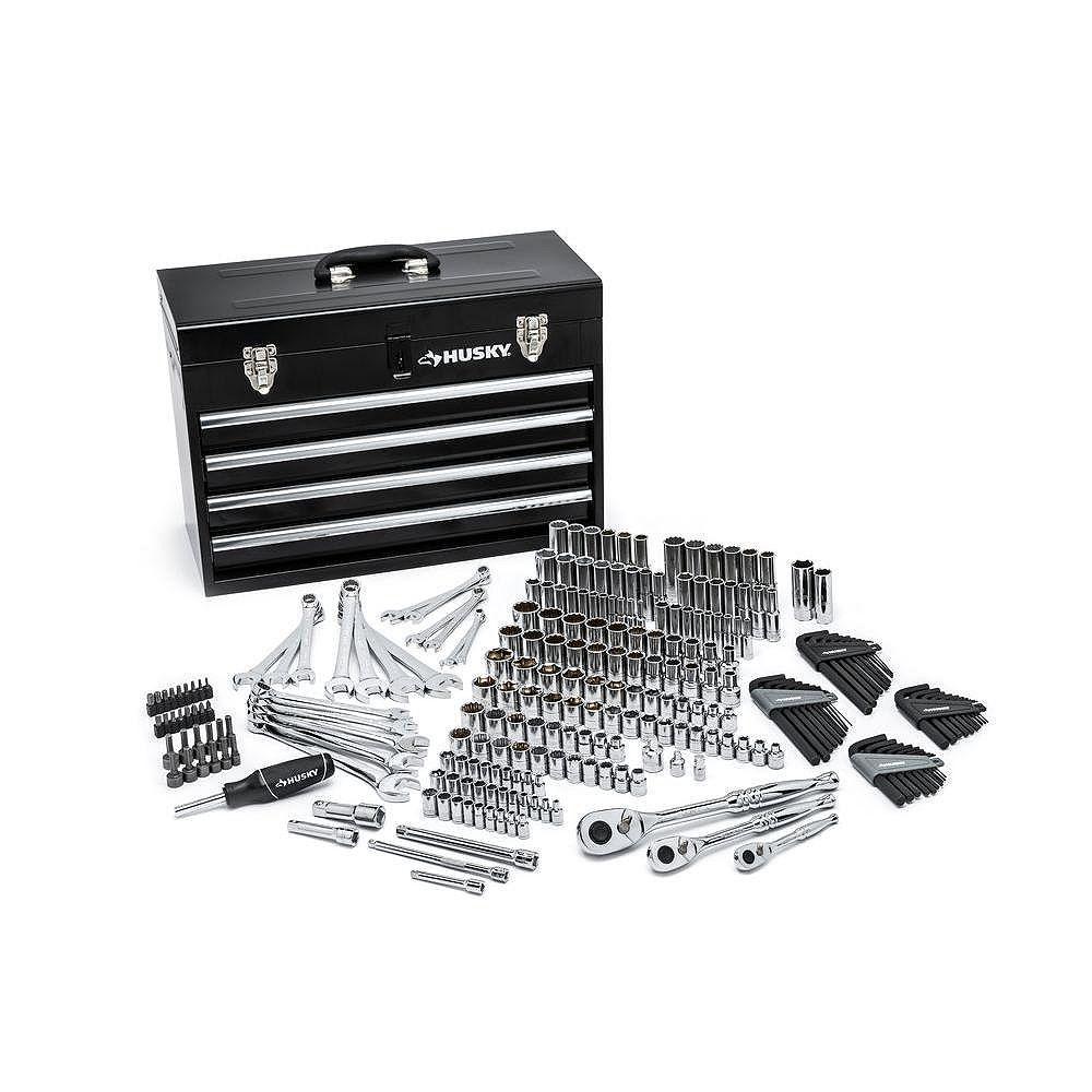Husky Mechanics Tool Set with Steel Storage Chest (250-Piece)