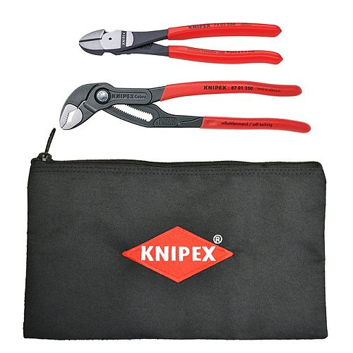 3-Piece Set- 10 Inch Cobra Pliers, 8 Inch High Leverage Diagonal Cutter and KNIPEX Keeper