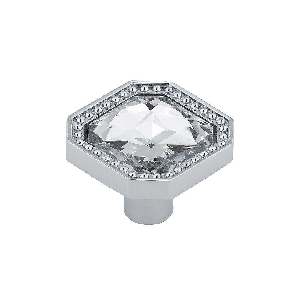 Richelieu Collection Merritt Bouton Contemporain Cristal, Chrome 1 1/4 in (32 mm) x 1 1/4 in (32 mm)