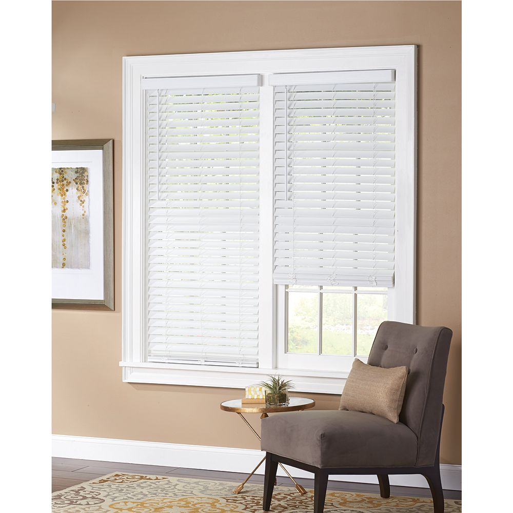 Home Decorators Collection White Cordless 2 Inch Faux Wood Blind 30 Inch W X 64 Inch L The Home Depot Canada