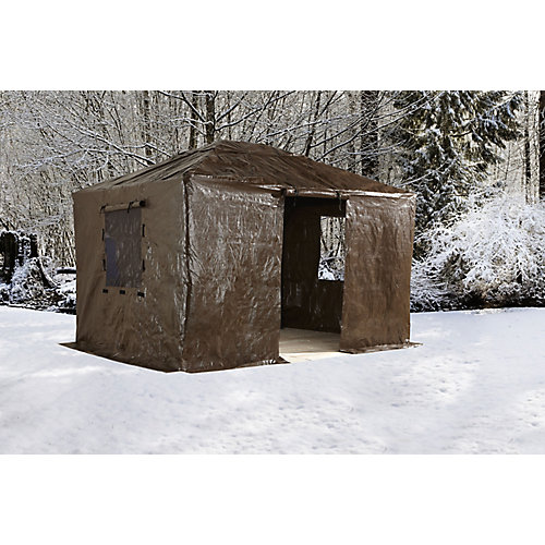 Sumatra 10 ft. x 14 ft. Gazebo Winter Cover in Brown