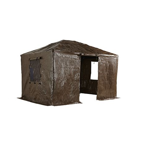 Gaspe/Genova 10 ft. x 12 ft. Gazebo Winter Cover in Brown