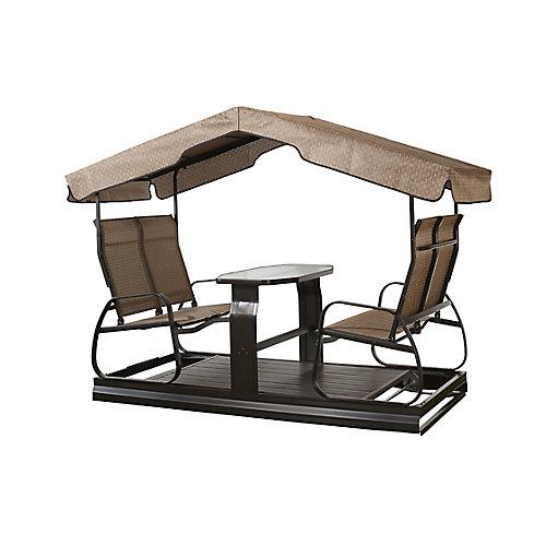 4-Seater Garden Swing in Dark Brown