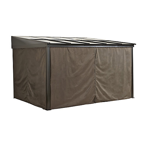 Pompano 10 ft. x 10 ft. Gazebo Polyester Privacy Curtains in Dark Brown