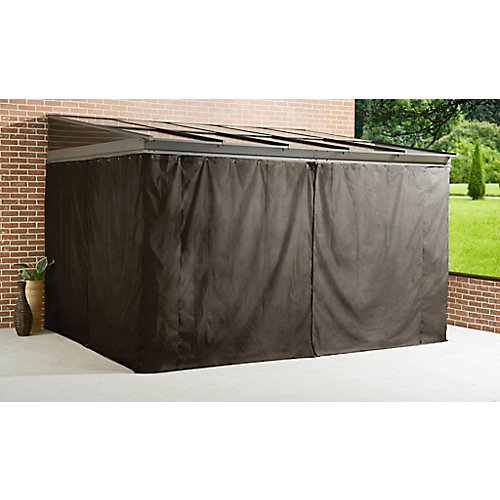 Pompano 10 ft. x 12 ft. Gazebo Polyester Privacy Curtains in Dark Brown