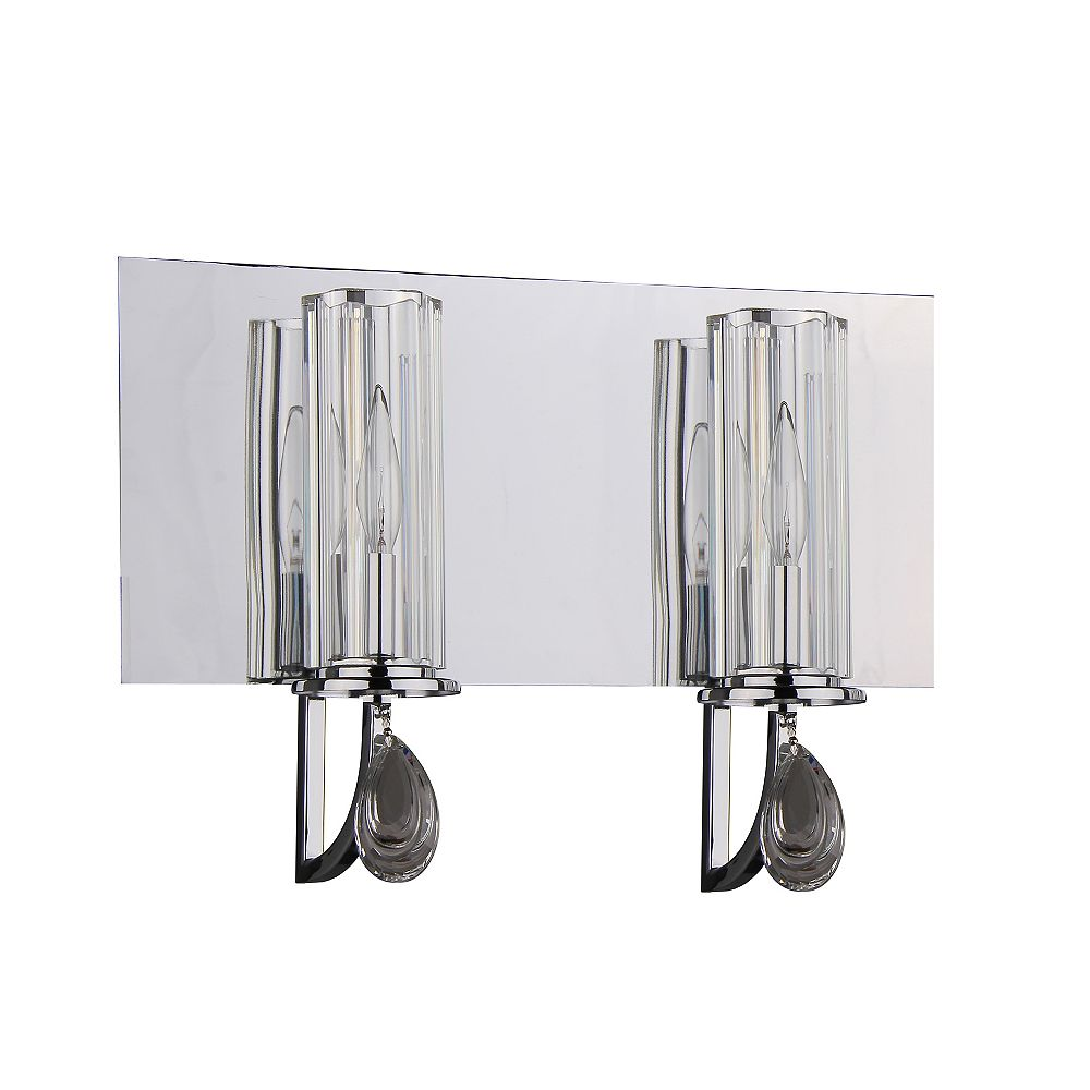 Shawson Lighting 2 Light Bathroom Vanity, Chrome Finish