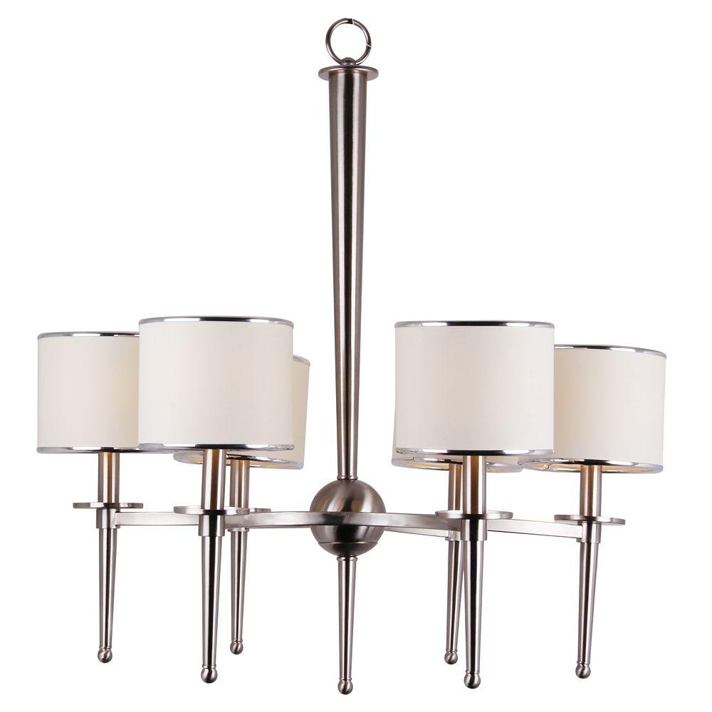 Shawson Lighting 6 Light Chandeliler, Brushed Nickel Finish