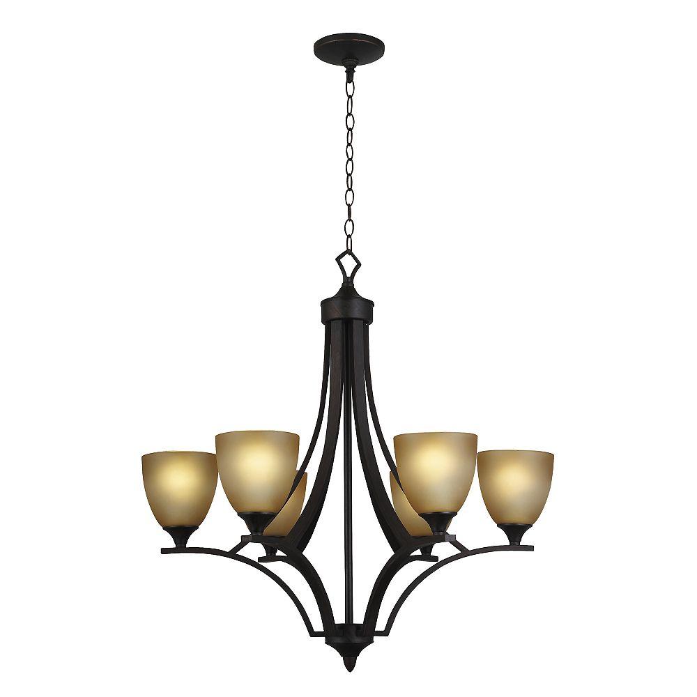 Shawson Lighting Lustre à 6 lumières, fini bronze oxydé