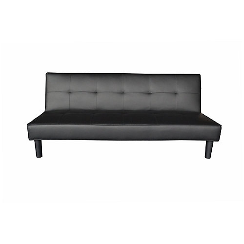 35-inch x 70-inch Wood Frame Sofa Bed with Futon Mattress in Black