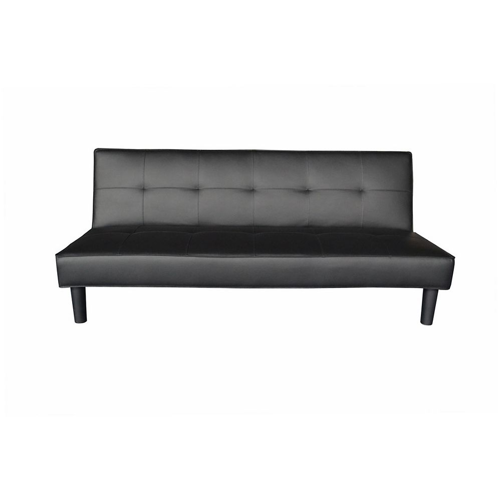 9-inch x 9-inch Wood Frame Sofa Bed with Futon Mattress in Black