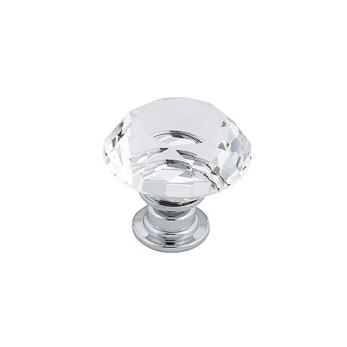 Contemporary Crystal Knob 1 3/16 in (30 mm) Dia - Clear Chrome - Bolzano Collection