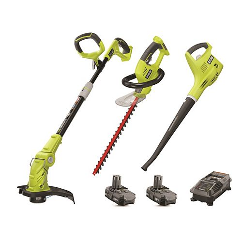18V ONE+ Lithium-Ion Cordless Trimmer/Edger, Hedge Trimmer and Blower Combo Kit (3-Piece) with 2 Batteries