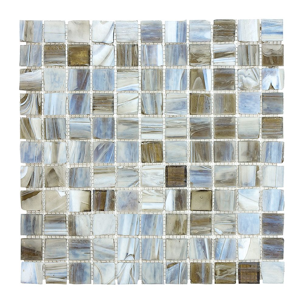 Enigma 1-inch x 1-inch Glass Mosaic Tile in Smoked Oyster
