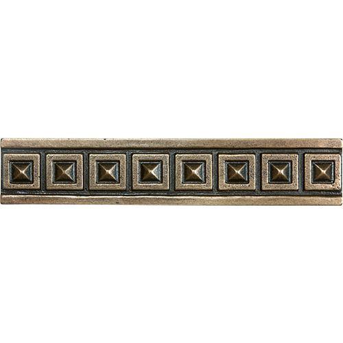 Bordure en bronze coulé Palladian de 1,25 po × 6 po