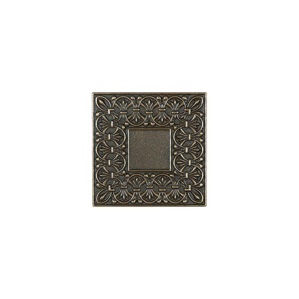 Enigma Carreau décoratif en bronze coulé Lugarno de 4po × 4po