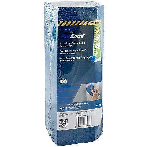 Éponge très grande biseautée Norton ProSand  grain 120 emballage de 3,  3-5/16 po x 9po x1po