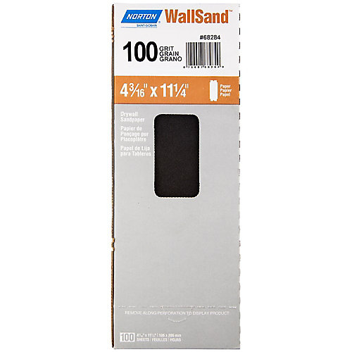 WallSand Drywall Paper Sanding Sheets 100-Medium 4-3/16 inch x 11 inch (100-Pack)