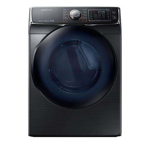 7.5 cu. ft. Front Load Electric Dryer with Steam in Black Stainless Steel - ENERGY STAR®