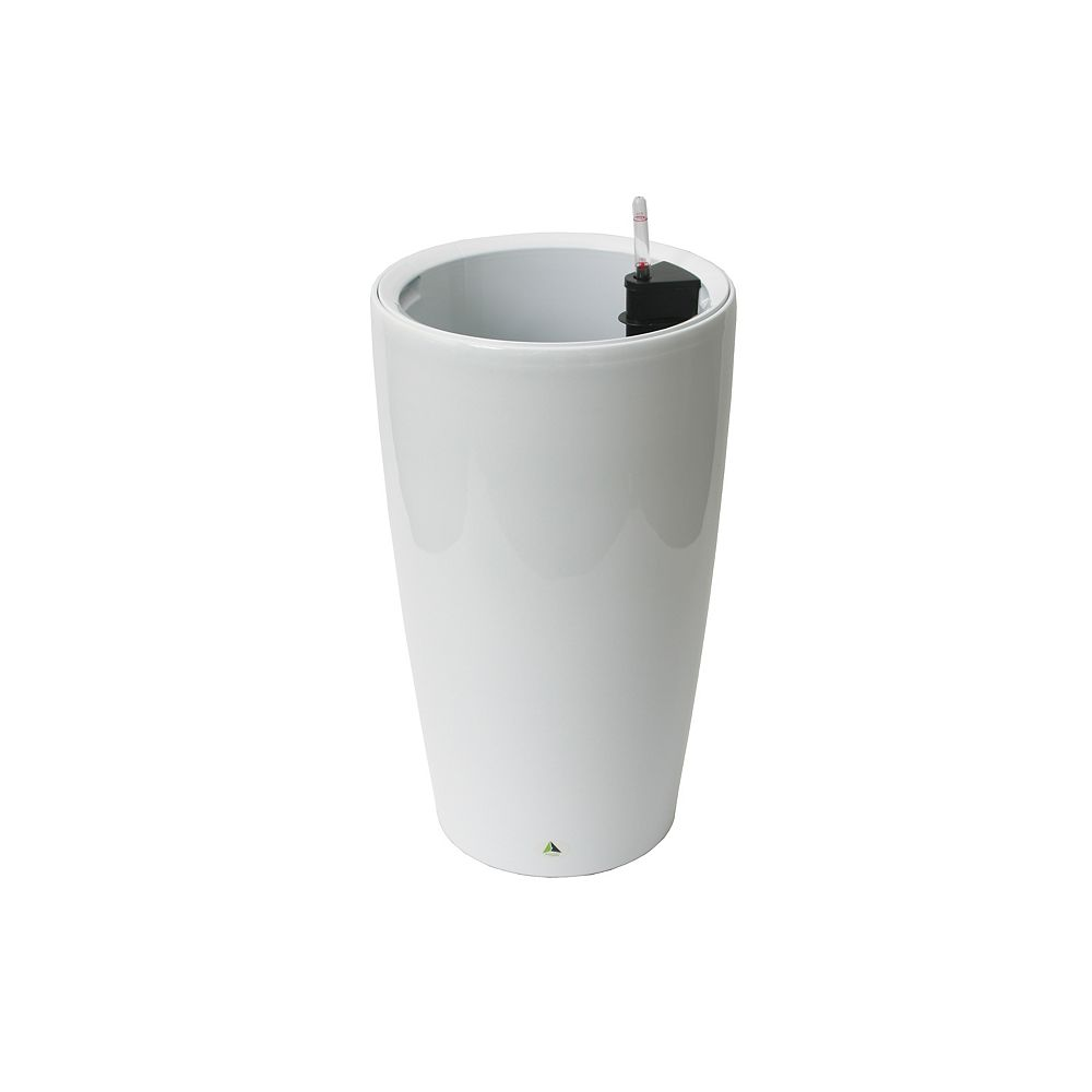 Algreen Products 22404 22-inch Self-Watering Round Modena in Glossy White